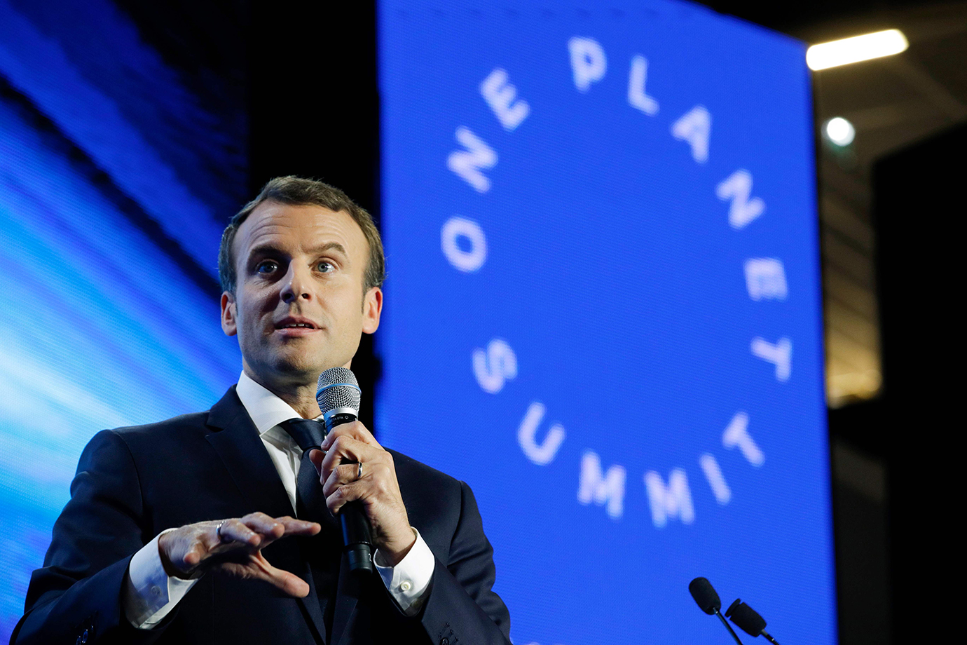 French President Emmanuel Macron delivers a speech during the 'Tech for Planet' event at the 'Statio