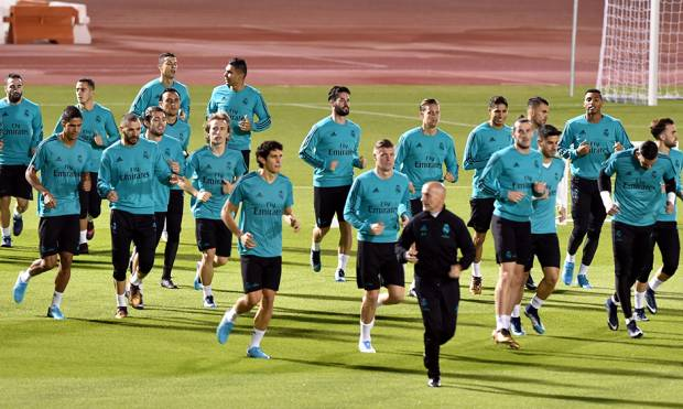 Real Madrid players during a training session at the New York Universitty ground in Abu Dhabi