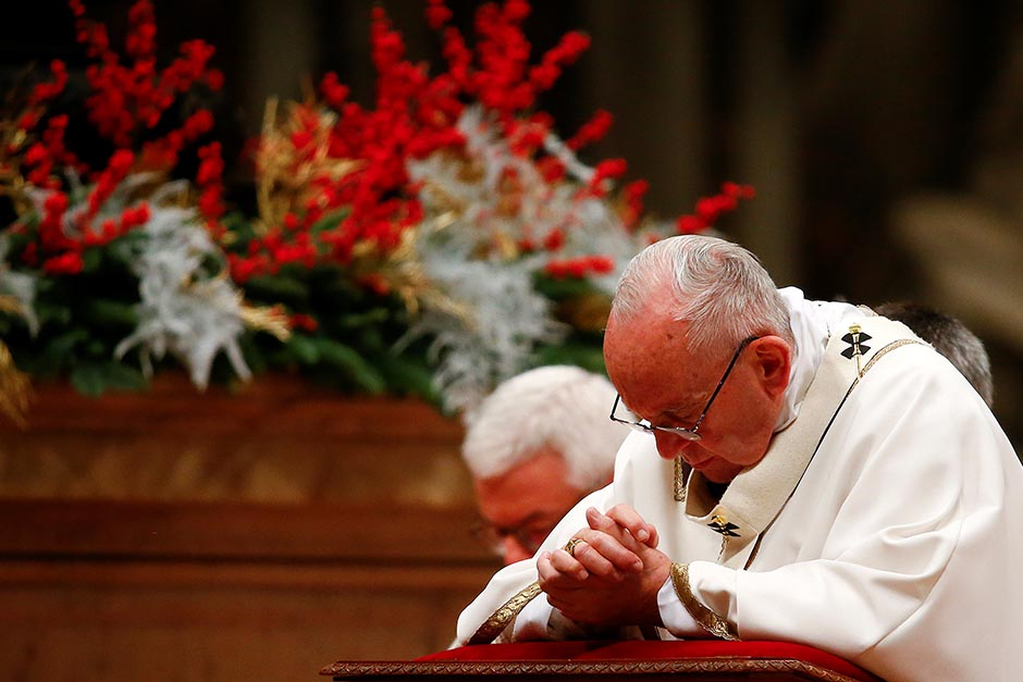 Pope Francis leads the Christmas night Mass in Saint Peter's Basilica