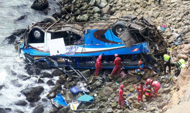 Pictures: Bus careens off cliff in Peru