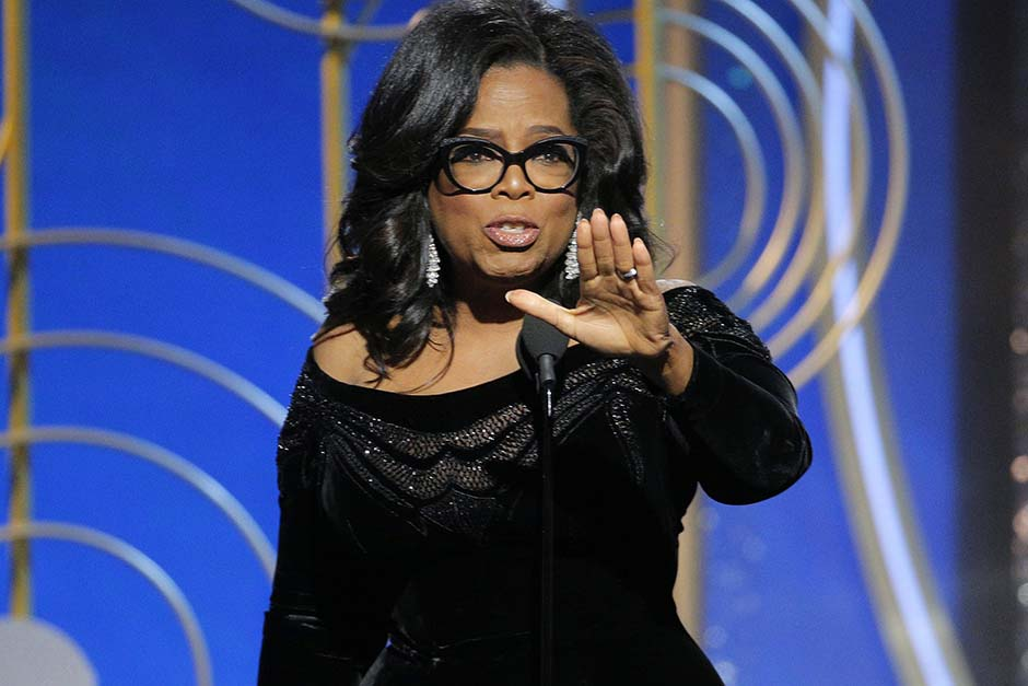 Oprah Winfrey accepts the Cecil B. DeMille Award