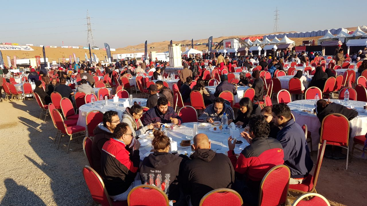 A scene of the open-air breakfast at the desert camp of the Gulf News Overnighter Fun Drive 2018 ear