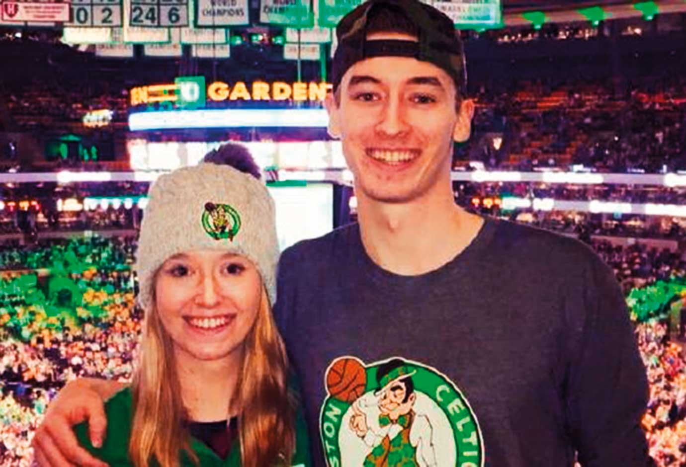 Shane Missler, 20, a Boston Celtics fan, with his sister