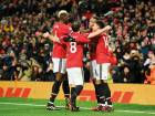 Manchester United's Anthony Martial (second from right) celebrates with Paul Pogba (left), Juan Mata (second from left) and Jesse Lingard during the match against Stoke City.