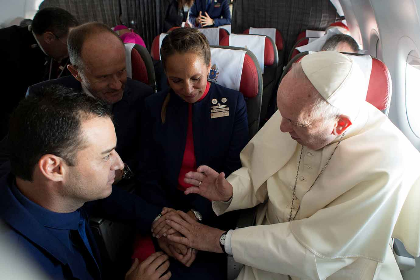 Carlos Ciuffardi and Paula Podest with Pope Francis