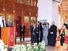 Shaikh Nahyan delivering his speech after inaugurating  the Saint Elias Greek Orthodox Cathedral in Musaffah in the presence of Patriarch John X Yazigi and other dignitaries.