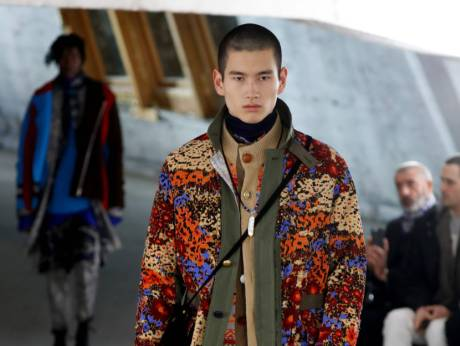 A model presents a creation for Sacai, during the men's Fall/Winter  2018/2019 fashion show in Paris on JanImage Credit: AFP