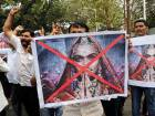 People shouts slogans to demand ban on Bollywood movie Padmavat near the Central Board of Film Certification center in Mumbai, India.