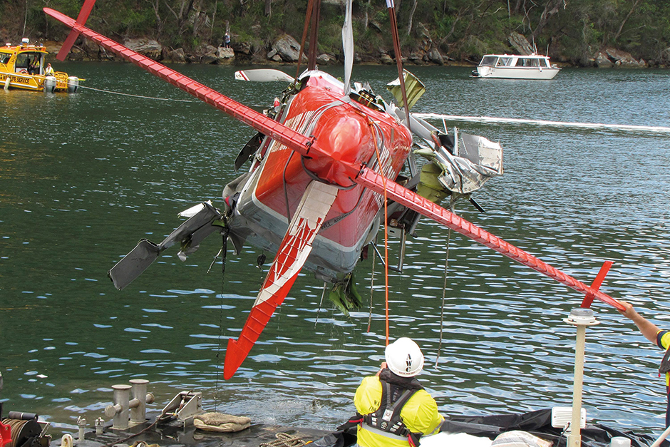 The wreckage of the seaplane