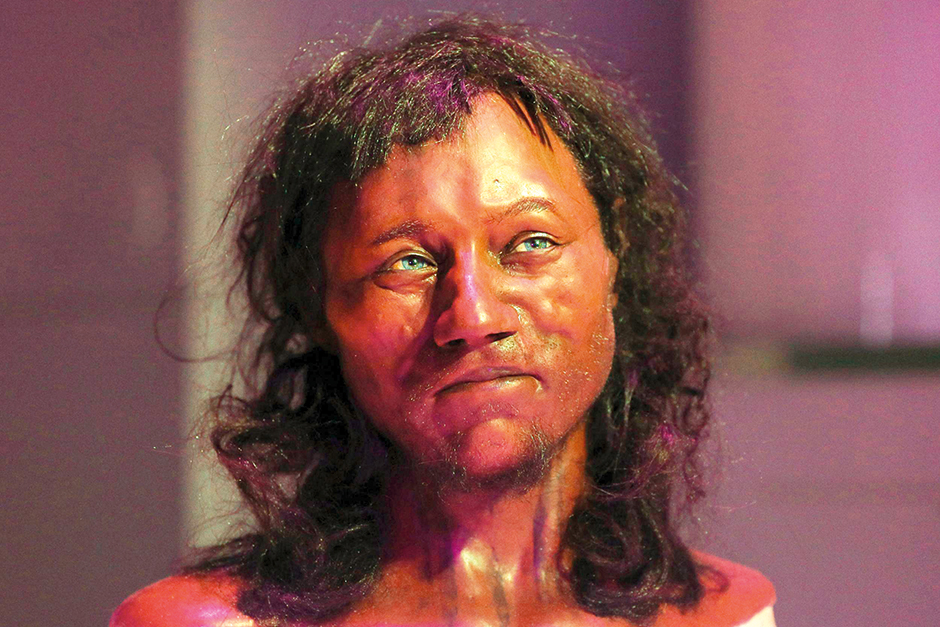A bust of the Cheddar Man
