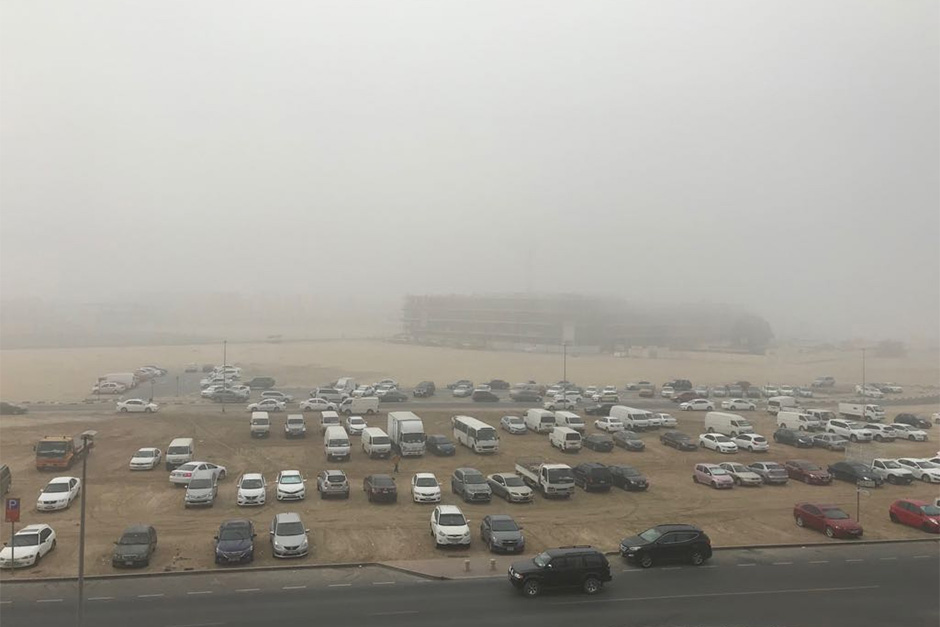 Fog hovers over the Muhaisinah area in Dubai today morning