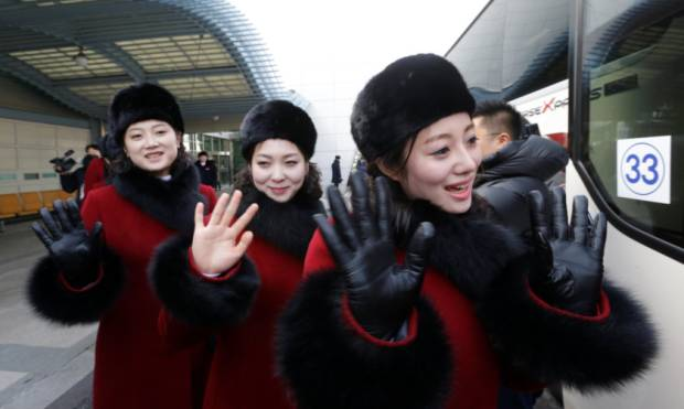 North Korea cheer squad arrives in South