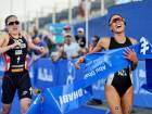Andrea Hewitt beats Jodie Stimpson of Britain in a sprint finish in the ITU World Triathlon Series in Abu Dhabi last year. Both athletes clocked a time of 2:3:46.