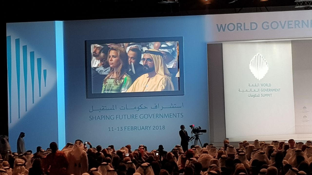 Shaikh Mohammad and Princess Haya, during the French Prime Minister, Edouard Philippe's speech