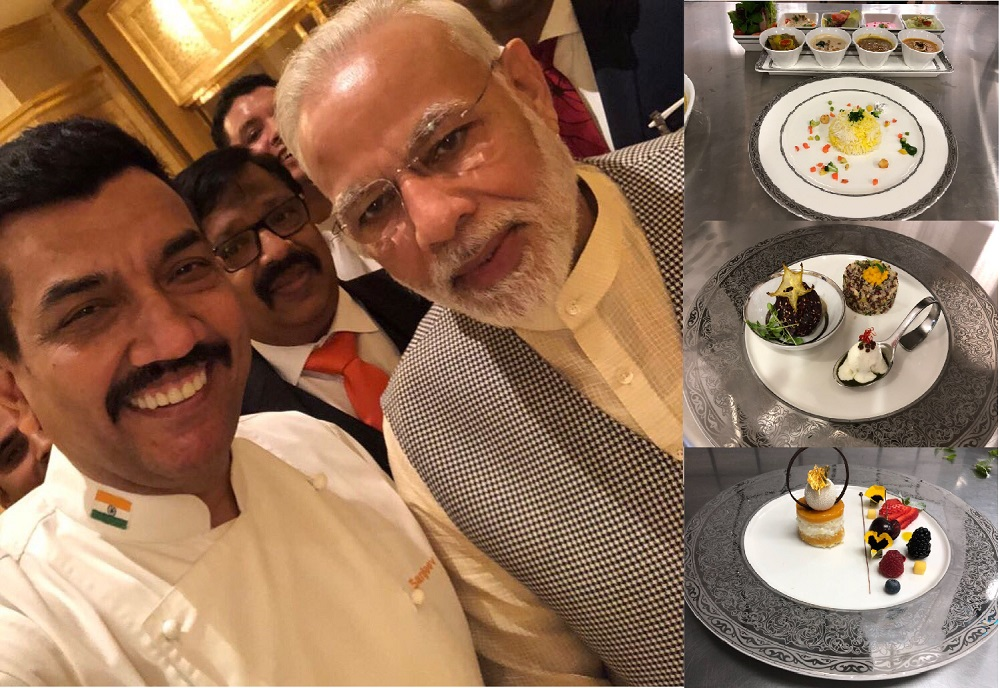 Celebrity chef Sanjeev Kapoor with PM Modi, and some of the delights he prepared for the Indian prem