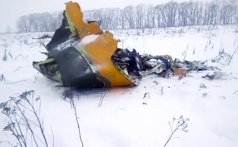 Screen grab provided by the Life.ru shows wreckage of a AN-148 plane in Stepanovskoye village, about