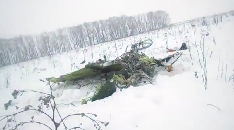 The wreckage of a AN-148 plane is seen in Stepanovskoye village, about 40km from the Domodedovo airp