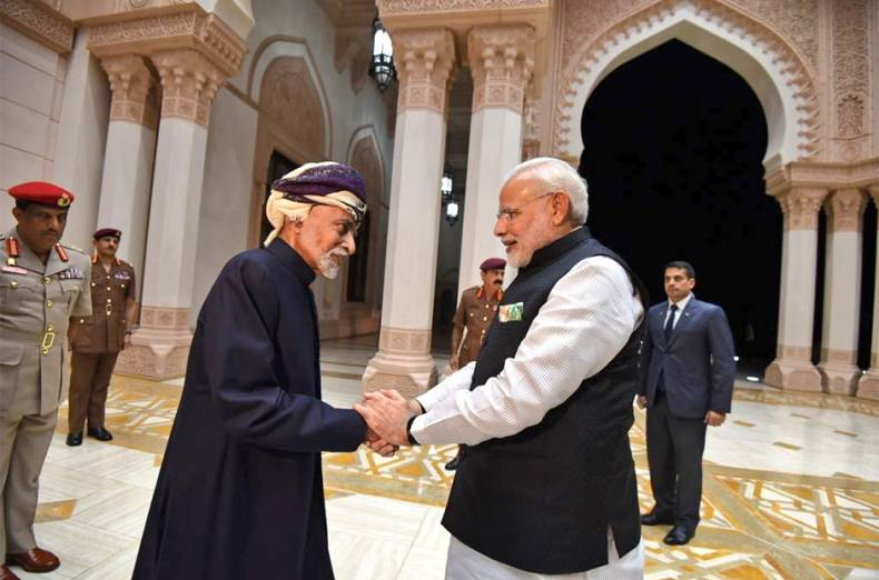 sultan-qaboos-of-oman-of-oman-greets-indian-prime-minister-narendra-modi-at-bait-al-barakah-in-musca