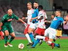 Leipzig's Portuguese midfielder Bruma (2ndR) shoots and scores a goal during the UEFA Europa League football match between Napoli and Leipzig, on February 15, 2018 at San Paolo stadium in Naples.