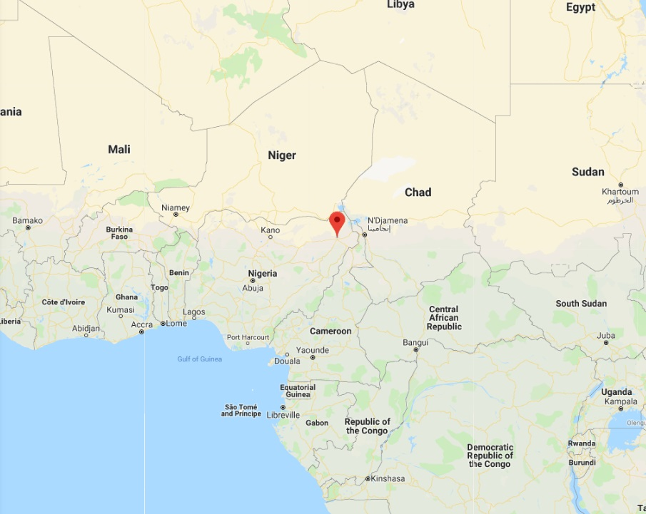 Location map of Maiduguri, Nigeria