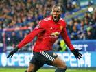 Manchester United's Romelu Lukaku celebrates scoring the first goal against Huddersfield in the FA Cup fifth round match at John Smith's Stadium on Saturday.