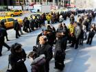 People line up for a job fair in Manhattan. As many unemployed Americans discovered the last time recession hit, government benefits that require recipients to hold a job become worthless when there is no work to be had.