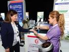 A delegate is administered a free nutrition test at Al Zahra Hospital's stand at the health forum in Dubai on Wednesday.
