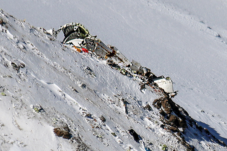The wreckage of Aseman Airlines flight EP3704