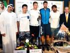 From left: Salah Tahlak, Dubai Duty Free Tennis Championships tournament director with players Yuichi Sugita, Borna Coric, Robin Haase, Marcos Baghdatis and Colm McLoughlin, executive vice-chairman and CEO of DDF, at the men's draw on Saturday.