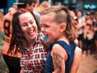 A child sports a mullet haircut at Mulletfest 2018 in Kurri Kurri town, 150 km north of Sydney, on Saturday. Mulletfest is a celebration of the iconic haircut called the mullet which began in the 1970s and was popular in the 1980s, and is making a comeback in Australia.