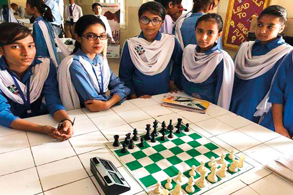 Members of the all-girls chess team