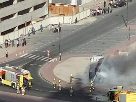 A truck catches fire in Al Nahda area
