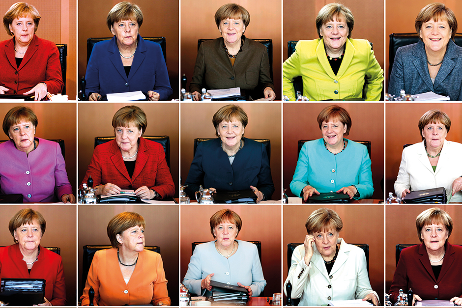 In this combo from file photo Angela Merkel