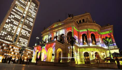 Frankfurt buildings illuminated for 'Luminale'
