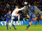 Chelsea's Pedro heads it into the post to score the second goal against Leicester City in the FA Cup quarter-final at the King Power Stadium on Sunday. Chelsea won 2-1.