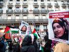 "Demonstrators hold posters reading ""Free Ahed Tamimi"" in Paris on March 8 during a demonstration called by feminist associations to mark International Women's Day."
