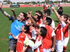 Arsenal defender Calum Chambers (above) and Hector Bellerin (top) enjoy their time among young trainees during an Arsenal Soccer Schools visit at the Sevens Stadium on Friday.