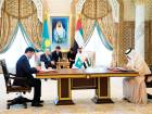 Shaikh Mohammad Bin Zayed Al and Nazarbayev witness an MOU signing ceremony, at the Presidential Palace. Seen signing are Obaid Bin Humaid Al Tayer, UAE Minister of State for Financial Affairs, and Zhenis Kassymbek, Minister of Investments and Development of Kazakhstan.