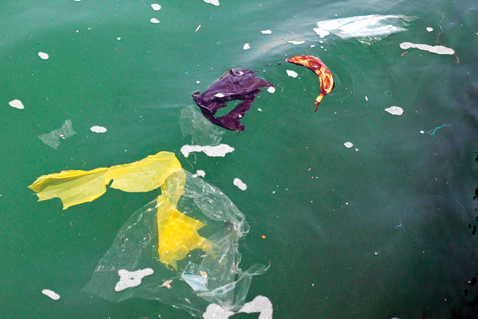 Plastic bags and bottles are among the garbage that dots the surface of Dubai Creek