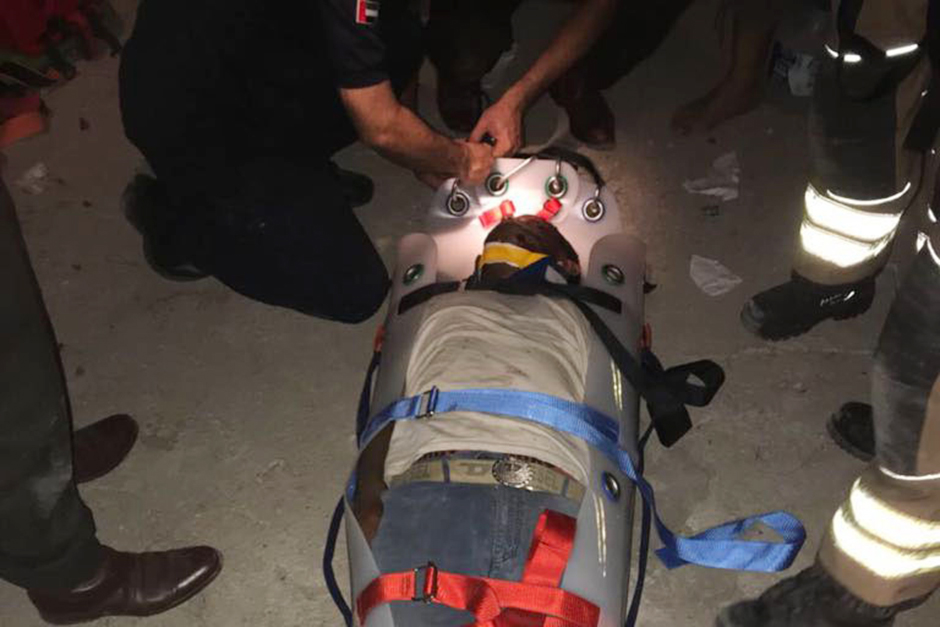 The rescue team managed to pull out the worker who was taken to Khor Fakkan Hospital where he was ad