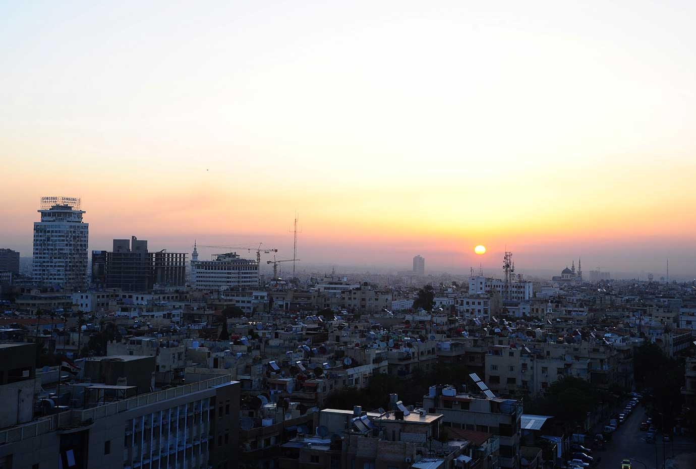 A general view of Damascus city during sunrise, Syria April 14, 2018. This image has been supplied b