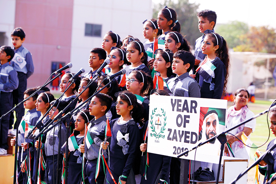 The Delhi Private School choir during a cultural programme to mark the Year of Zayed