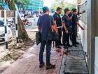 Malaysian forensic police collect evidence in the area where the Palestinian lecturer was assassinated.