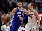 Philadelphia 76ers guard Ben Simmons (25) is guarded by Miami Heat forward Kelly Olynyk during the first half in game four of the first round of the NBA Play-offs.