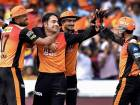 Sunrisers Hyderabad's bowler Rashid Khan  celebrates with team mates after taking wicket of CSK batsman Francois du Plessis during an IPL T 20 cricket match in Hyderabad on Sunday.