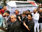 People carry the coffin of Palestinian man Fadi Al Batsh, who was shot to death, to a mosque for a special prayer in Kuala Lumpur, Malaysia.