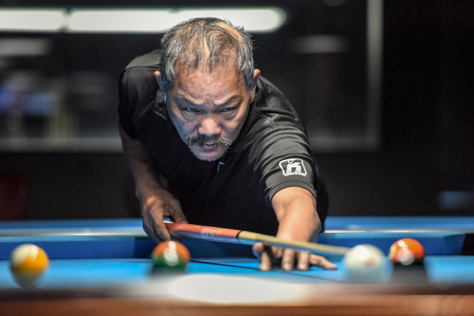 Pool maestro and legend Efren Bata Reyes, at the Impulse Billiards Café at Knight Shot, Dubai.