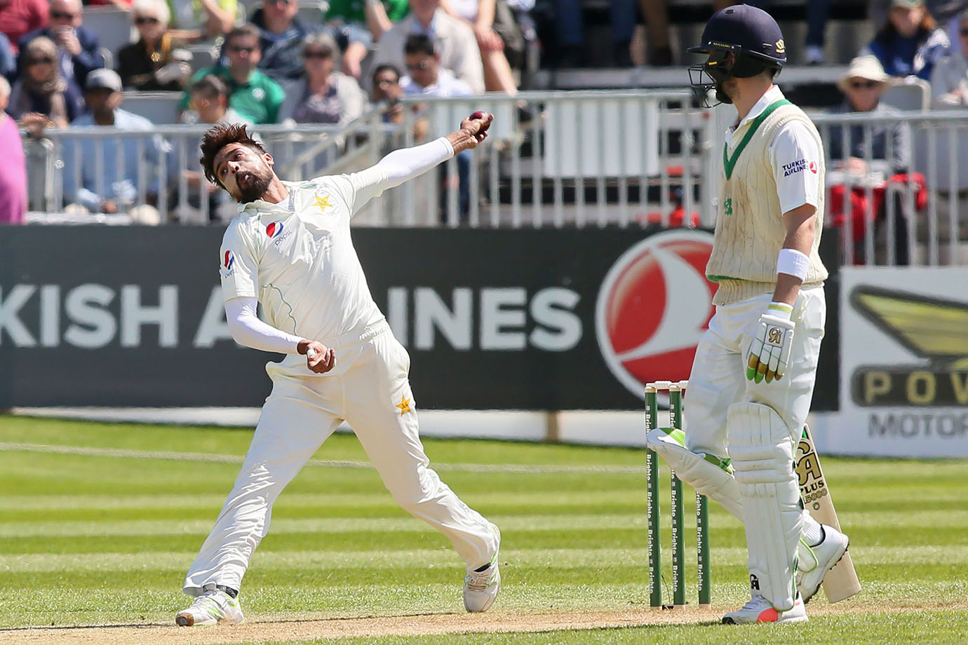 Pakistan's Mohammad Amir bowls during play on day three of Ireland's inaugural test match against Pa
