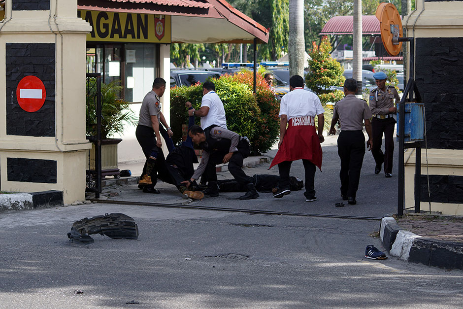 Indonesia police kill three 'terrorists' who attacked officers with a sword
