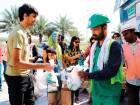Families gift Ramadan bags to workers